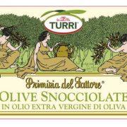 etichetta con ingredienti e valori nutrizionali Olive snocciolate Turri – Primizia del Fattore in olio extra vergine di oliva – vaso da 190 g