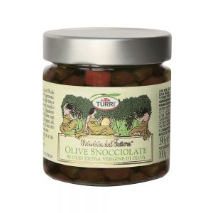 Pitted black olives in extra virgin olive oil - Primizia del Fattore Turri - 190 g pot