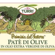 etichetta Paté di Olive Turri – Primizia del Fattore in olio extra vergine di oliva con ingredienti e valori nutrizionali – vaso da 190 g