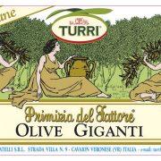 retro etichetta Olive giganti Turri – Primizia del Fattore vaso da 540 g con ingredienti e valori nutrizionali