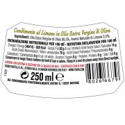 back label of the lemon flavoured dressing with ingredients and nutrional information – 0.25 L bottle