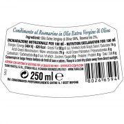 retro etichetta di Condimento al Rosmarino Turri con ingredienti e valori nutrizionali – bottiglia da 250 ml