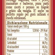 retro etichetta Aceto Balsamico di Modena IGP Turri selezione Oro – bottiglia da 0,25 L con ingredienti e valori nutrizionali