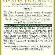 retro etichetta olio extra vergine di oliva Garda DOP Orientale 1924 Turri – bottiglia da 0,50 L
