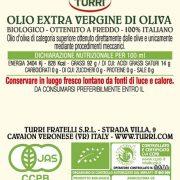retro etichetta olio extra vergine di oliva Biologico 100% italiano – bottiglia 0,25 L