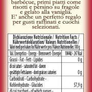 retro etichetta del Condimento Bianco dolce Turri – bottiglia da 250 ml con ingredienti e valori nutrizionali