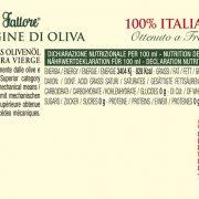retro etichetta Olio extra vergine di oliva Primizia del Fattore Turri – bottiglia anfora da 0,75 L