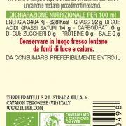 retroetichetta olio extra vergine di oliva Biologico 100% italiano – bottiglia da 0,10L