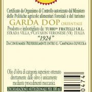 retroetichetta olio extra vergine di oliva Garda DOP Orientale 1924 – bottiglia da 0,10L